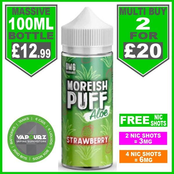 Moreish Puff Aloe Strawberry 100ml + Free Nic Shots