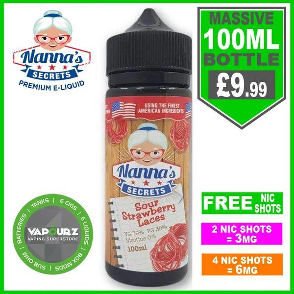 Nannas Secrets Sour Strawberry laces 100ml