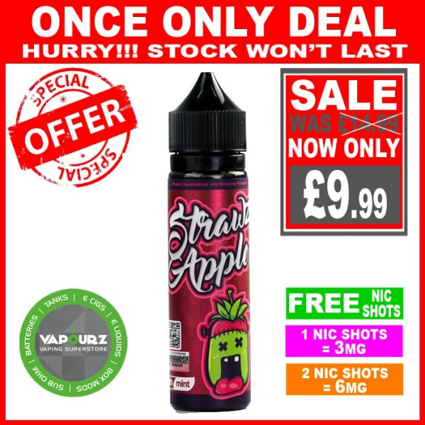 Monsta vape strawz apple 50ml + FREE Nic shots