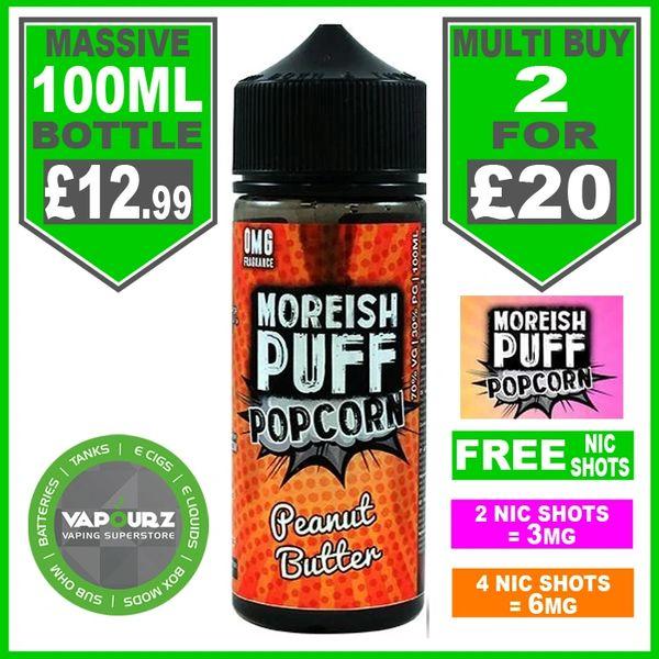 Moreish Puff Popcorn Peanut Butter 100ml + Free Nic Shots