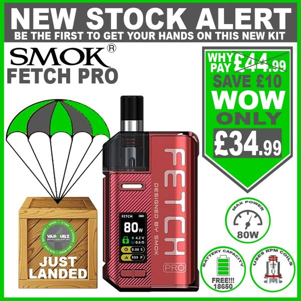 SMOK Fetch Pro Kit Red with FREE!!! 18650 Battery