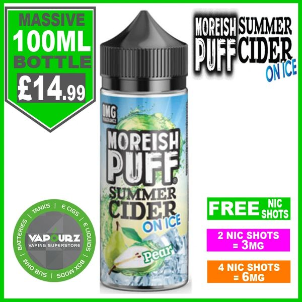 Moreish Puff Summer Cider on ice Pear