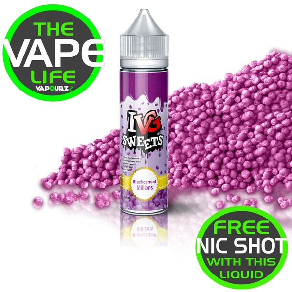 IVG Sweets Blackcurrant Millions + free Nic Shot