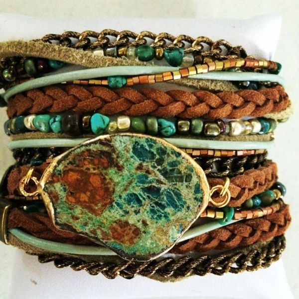 Faux Suede and Jasper Adjustable Cuff Bracelet