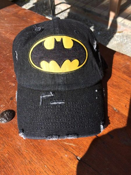 "Hat with, ""BATMAN,"" embroidered patch"