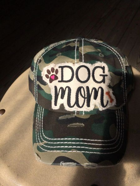 "Hat with, ""DOG MOM,"" embroidered patch"