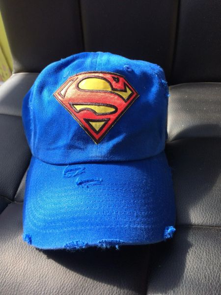 "Hat with, ""SUPERMAN,"" embroidered patch"