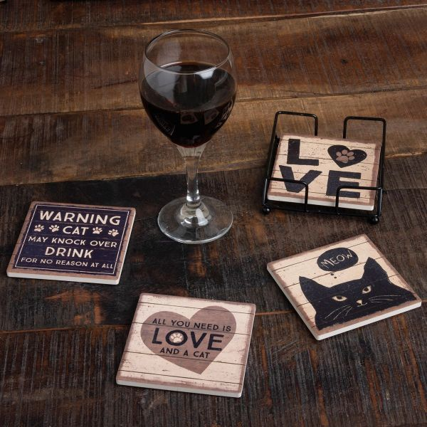 Best Seller! All You Need Is Love And A Cat Coaster Set (4)
