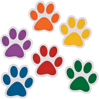 Puppy prints of multicolors in a cartoon fashion