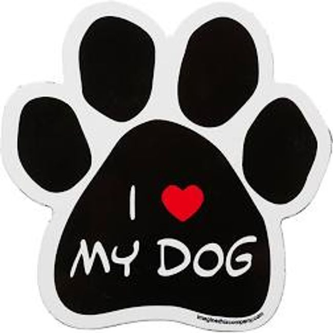 "Large Paw Print with the message ""I (Picture of a Heart to symbolize) Love My Dog"""