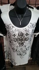 9307S - White T-Shirt with Bling and Lace Sleeves
