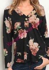 T2558– Floral print, v-neck, relax fit, but trim.