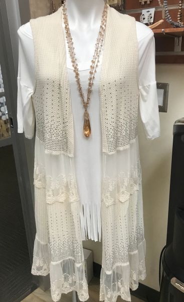 14748- Cream lace vest with the stone details