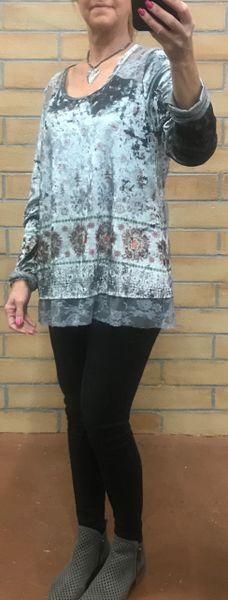 16824- velvet long sleeve top, lace trim