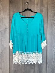 C3275 - Turquoise Tunic w/ Lace Trim
