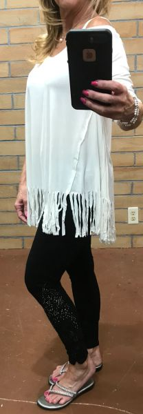 A3450 - Open Shoulder w/ Fringe Trim