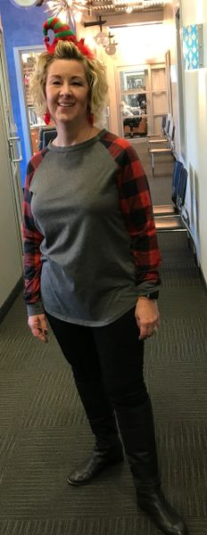 967R- Red and Green Plaid Long Sleeve Shirt