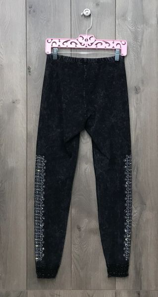 13306P - Charcoal Grey Legging w/Ankle Lace Trim