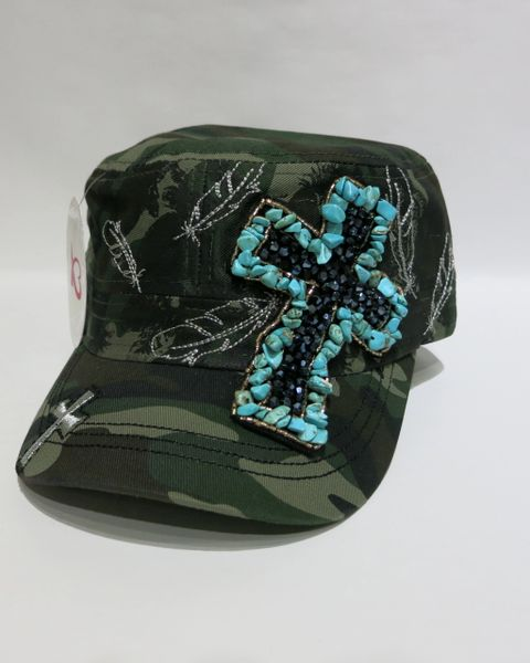 Camo Cap with Turquoise Cross