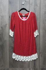 A7800 -Red Dress w/ Lace Trim