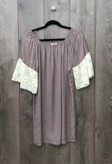 A9624 - Off the Shoulder Beige Dress