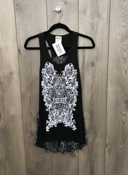 10702T - Black Tank w/ Grey Embellishment & Design
