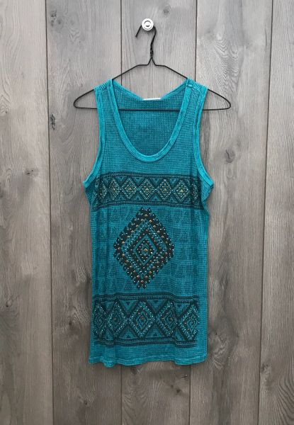 12304TX - Teal Tank w/ Charcoal Design