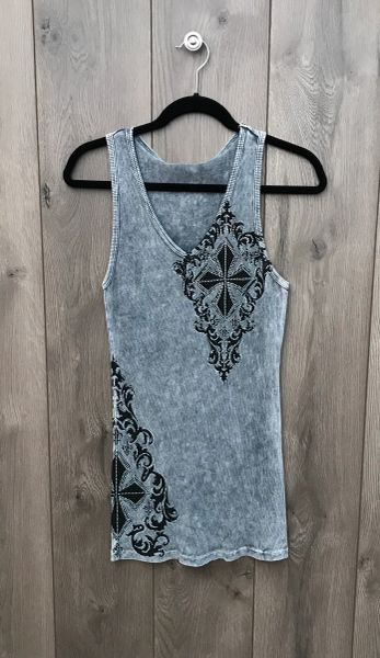 8479T - Grey Tank w/ Black Design