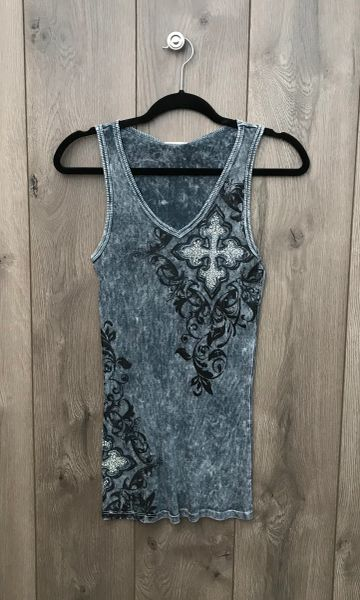 8508T - Dark Grey Tank w/ Crystal Embellishment