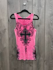 8303T - Pink Tank Top w/ Black Embellishment