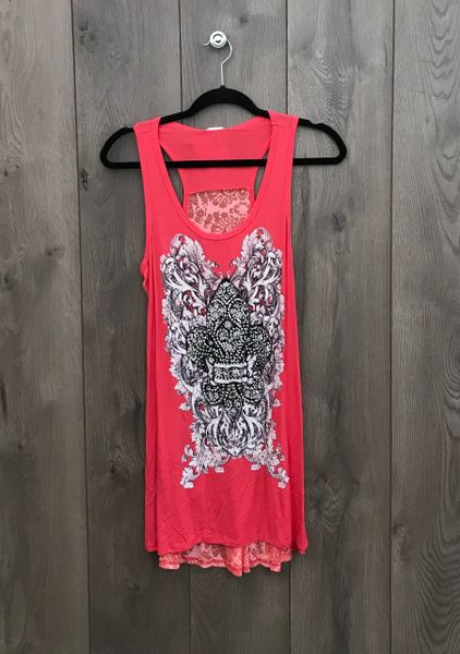 10702T - Coral Tank Top w/ Black & Grey Design