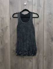 7717T - Charcoal Grey Burnout Tank w/ Lace Trim
