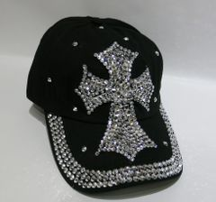 Black Cap with Large Bling Cross