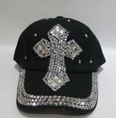 Black Cap with Large Crystal Cross