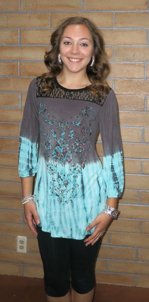 11615LX Embellished Tie-Dye Lace-Neck 3/4 Sleeve Tunic