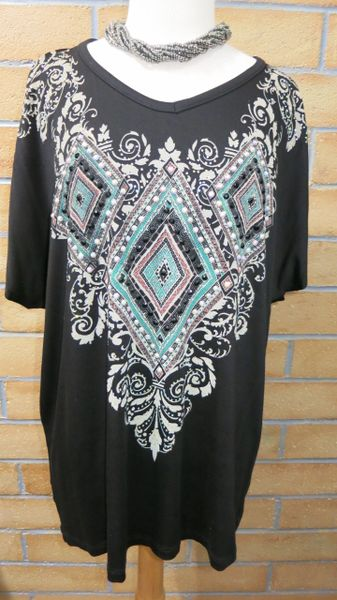 12070SX- Black Diamond Embellished Flow Tee