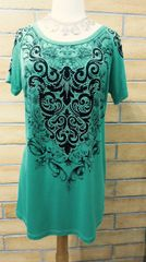 9953SX - Womens Teal Bling Top