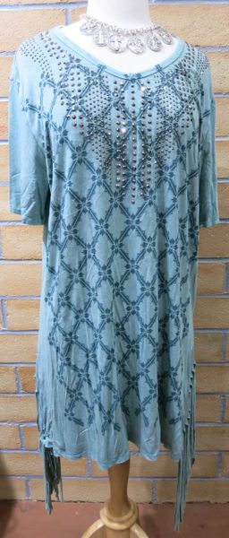 13005SX - Womens Mint Green Crystal Studd Tunic
