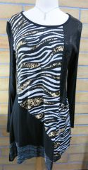 108 - Womens Black Sequin/Tiger/Leopard Design Tunic
