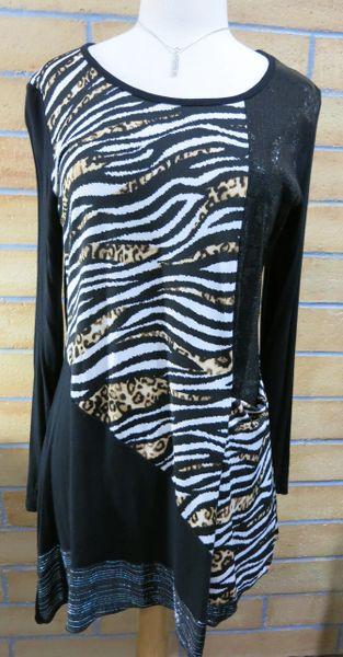 108 - Womens Black Sequin/Tiger/Leopard Design Tunic