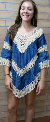 A1393 Denim Crochet Knit Tunic