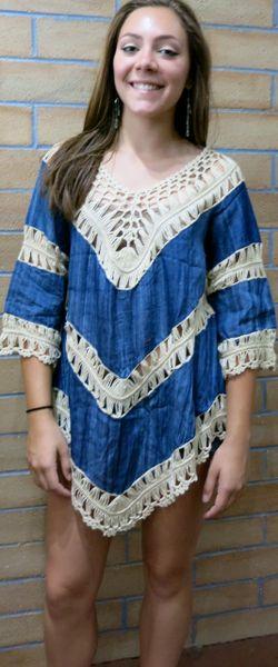A1393 Denim Crochet Knit Tunic