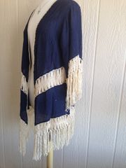 A1382-Navy Blue Overlay with Fringe