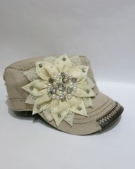 Solid Tan Cap With Cream Crystal & Pearl Flower & Chocolate Leather Trim On Rim