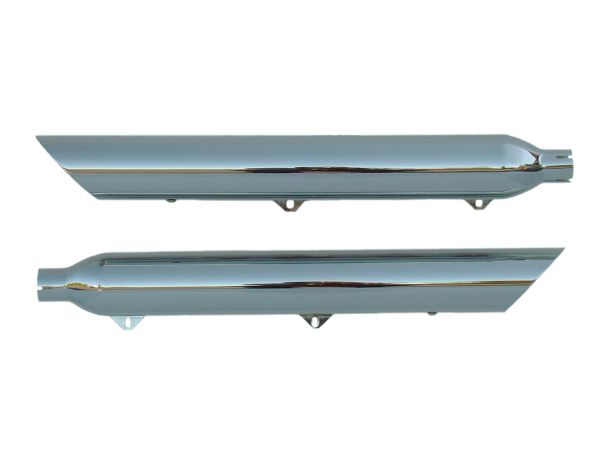"19701-250. Slash Down Cut. Chrome mufflers 2.50"" baffle for Softail Springer Classic and Heritage '97 - '03; '05 - '07"