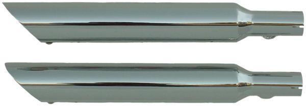 """B20801-225 Softail '00-'06 Slip-on Muffler Chrome Slash Down 2.25"""" Baffle (Blem)"""