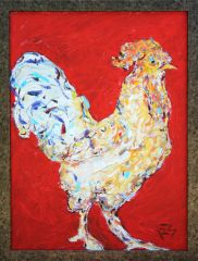 Rooster on Red