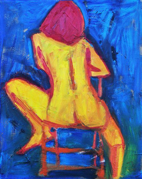 Nude Pose on Blue