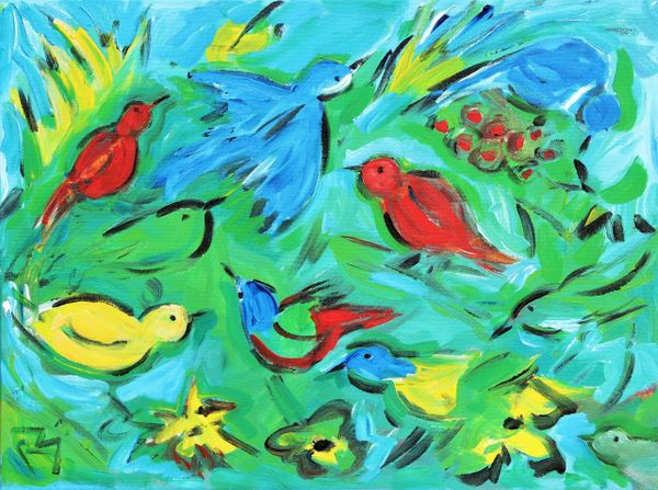 Birds Among Berries