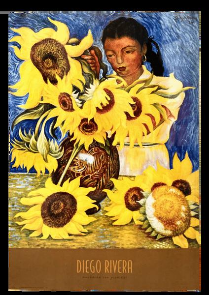 """Muchacha con Girasoles"" (Print) -Diego Rivera"